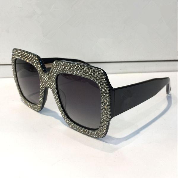 Gafas de sol de lujo 0048 Marco grande Diseñador especial elegante con marco de diamantes Lente circular incorporada de calidad superior Ven con estuche