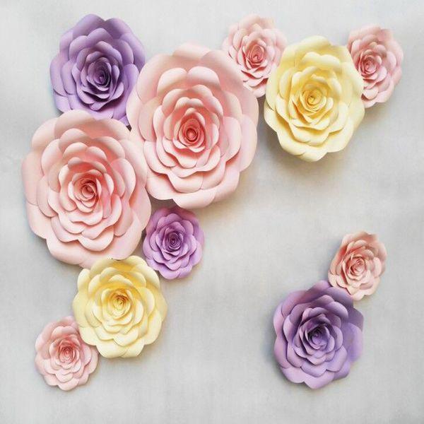 Customized Personalized 11pcs Set Handmade Giant Cardboard paper Unique flower Rose For Wedding Backdrops Decoration Decor photobooth