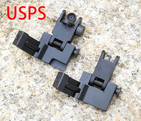 AR Front and Rear Flip up 45 Degree Rapid Transition Backup Iron Sight Set Free Shipping