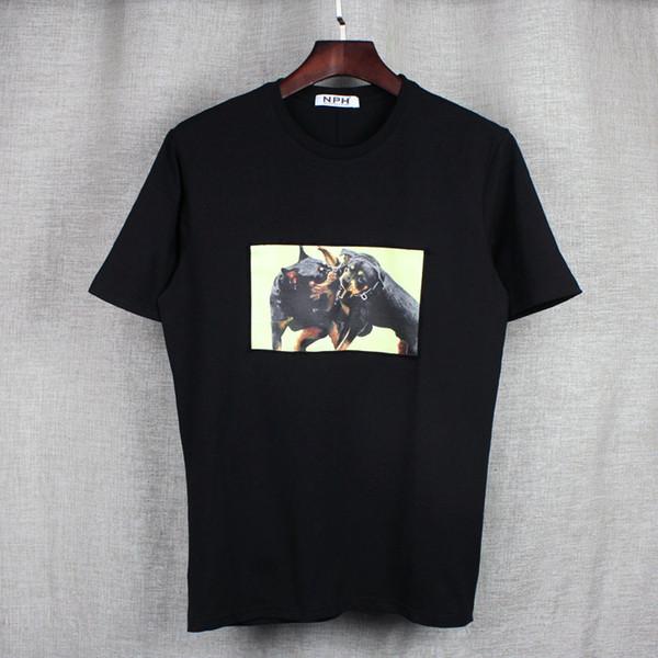 2017 fashion brand Mens t-shirt uomo manica corta camicia casual tshirt tee top uomo con maniche corte shirt patch motivi animali bulldog fig