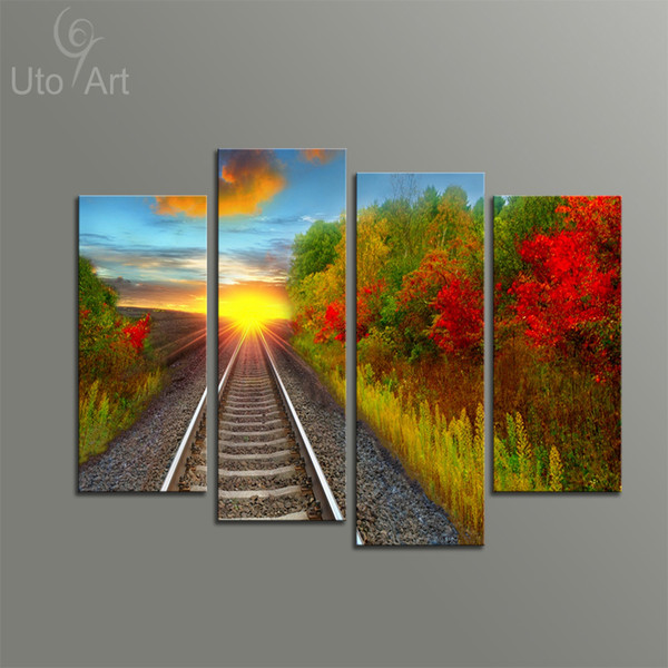 4 PCS Wall Decor Painting Autumn Landscape Art Print Home Decorative Digital Picture Canvas Printing For Living Room