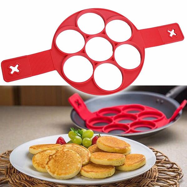 Non Stick Flippin' Fantastic Pancake Pan Flip Perfect Breakfast Maker Eggs Omelette Flipjack Tools 7 and 4 Grids Pancake Maker