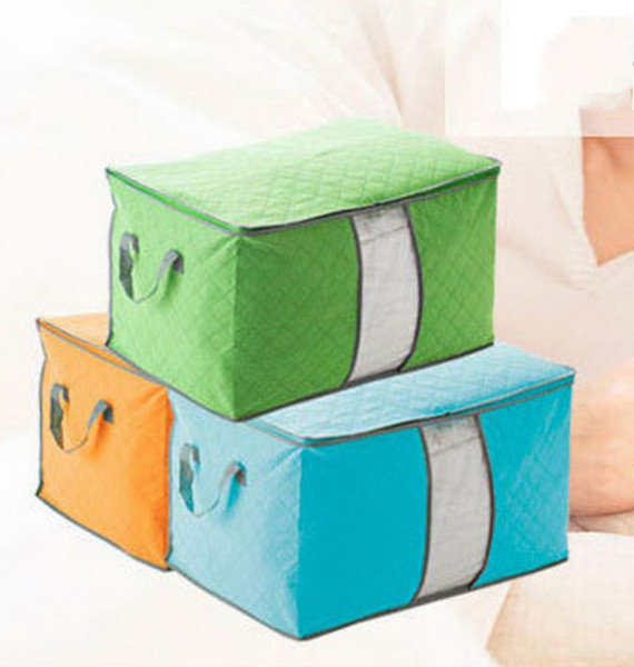 2019 Quilt Storage Box Household Quilts Blanket Clothes Dust Proof Finishing Bag Bamboo Carbon Non Woven Fabric Handle Storages Bags 4 05ot E1 From