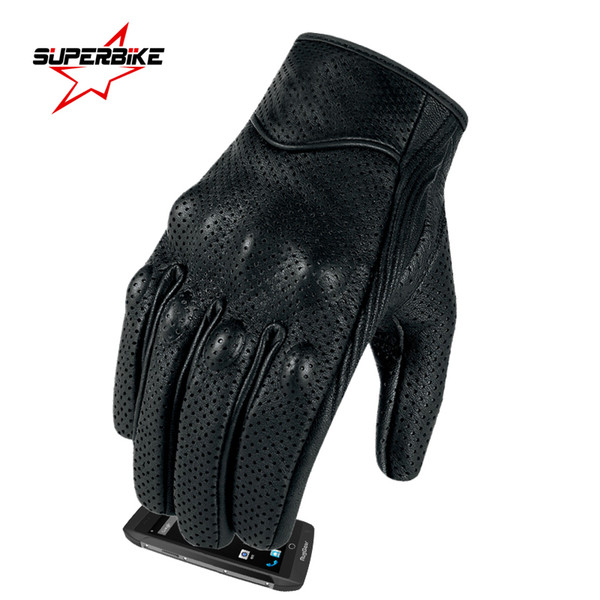 best selling Motorcycle Gloves Touch Goatskin Leather Electric Bike Glove For Men Man Cycling Full Finger Motorbike Moto Bicycle Bike Motocross Luvas