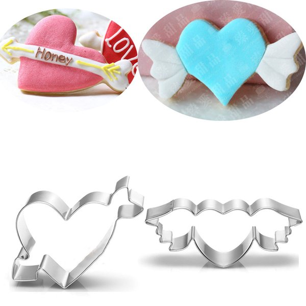 2pcs love angel heart metal cookie cutter for wedding Patisserie fondant cake pastry mold party baking tool
