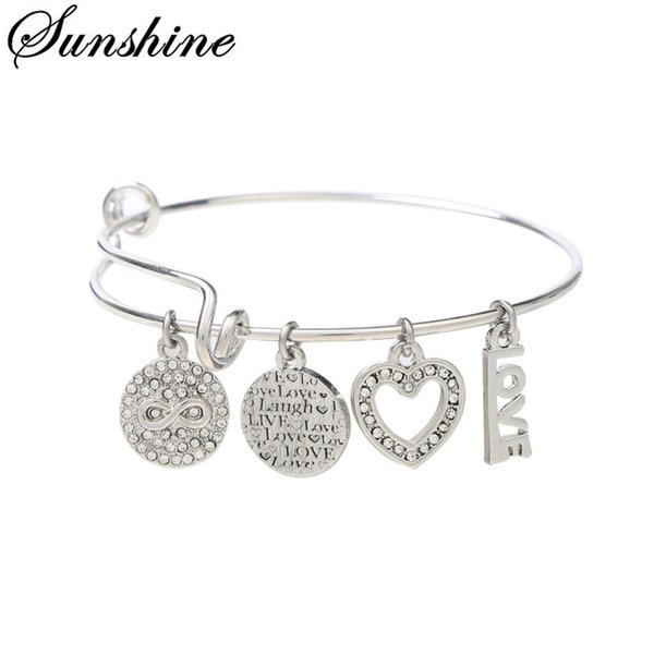 2018Newest Design Silver/Rose Gold Plated Copper Bracelets with Endless Love Charm Dangle for Women Jewelry with Free Shipping AX-202