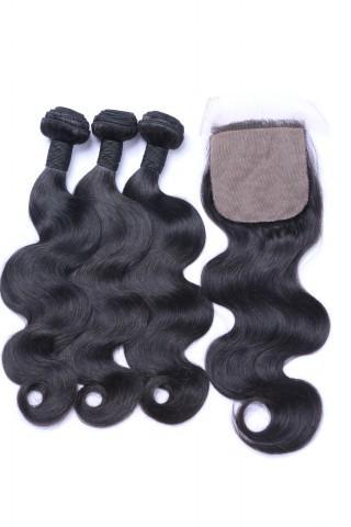 Free shipping 7A Human lace closure 4x4inch brazilian hair+3pcs human hair extensions one head body weave black 300g virgin UNPROCESSED Hair