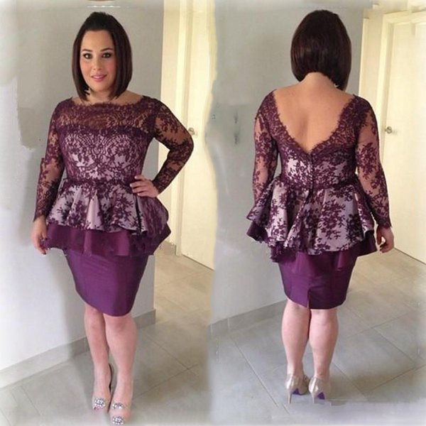 Grape Lace Mother Dresses Low Back Illusion Long Sleeves Short Mother Of Bride Gowns Knee Length Women Formal Party Evening Dress