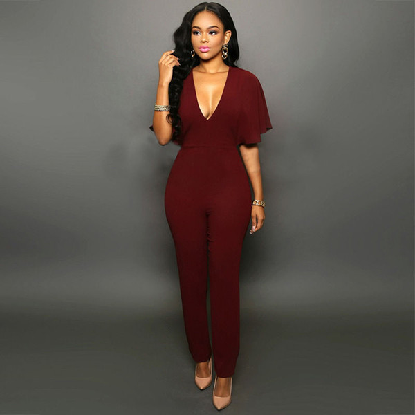 Wholesale- Summer style deep v neck backless women jumpsuit plus size sexy ladies half-sleeve 3 colors overalls and jumpsuits 2017