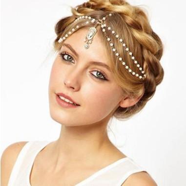 5pcs indiano Boho bianco in rilievo testa pezzo donne testa catena di nozze capelli banda testa vestito fasce gioielli di capelli alla moda
