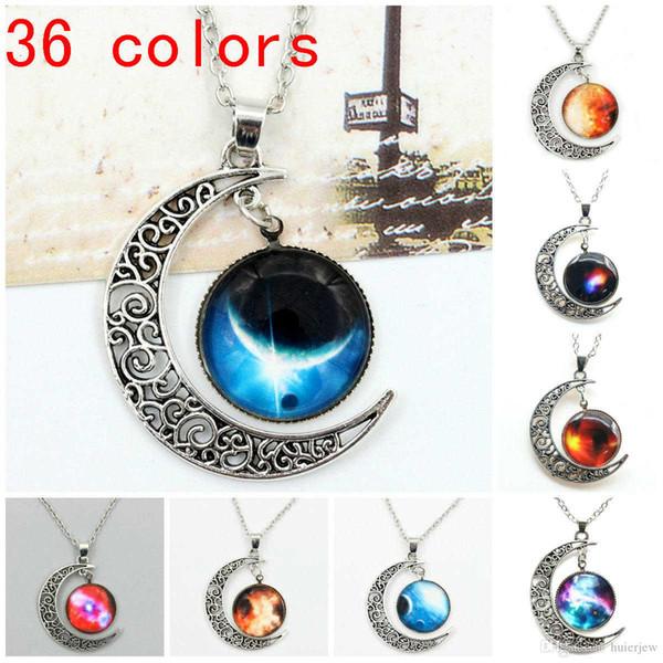 Mix 36 colors moon necklaces