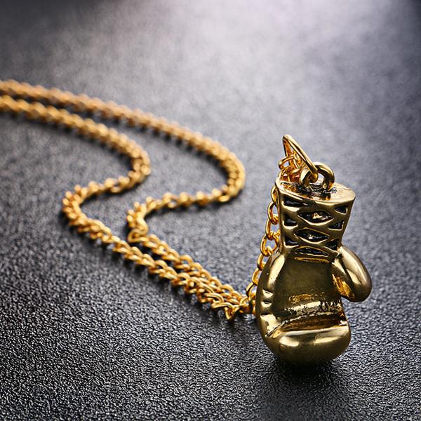 Atacado-liga de ouro / prata / cor preta moda adorável mini luva de boxe colar de boxe jogo jóias legal pingente para homens meninos