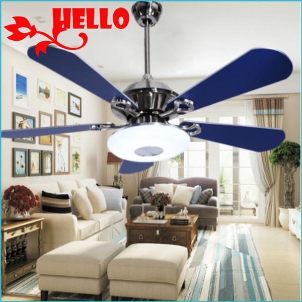 2017 Mediterranean Style Fan Ceiling Fan Lamp Bedroom Light European Style Living  Room Light Blue Fan Lamp Restaurant
