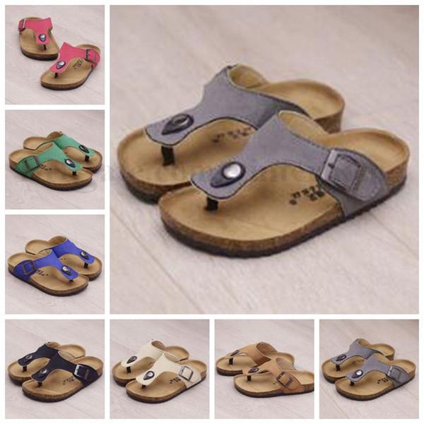 Kids Cork Slippers Beach Flip-flops Sandles Summer Beach Sandals Fashion Antiskid Slippers PU Leather Slippers Casual Cool Sandalias B1938