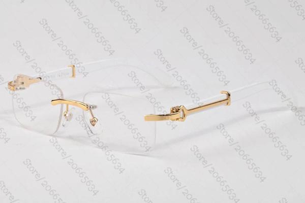 France Brand Wood Sunglasses Vintage Black Brown Clear Lens Designer Rimless Buffalo Horn Glasses Bamboo Sunglasses Lunettes