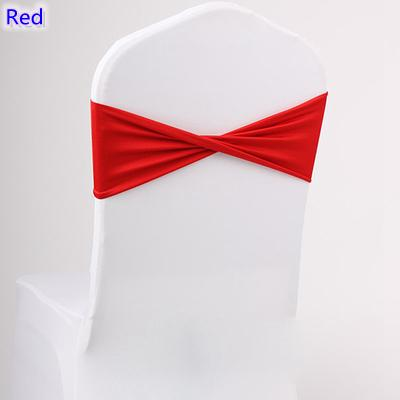 Red colour spandex sashes lycra sash for chair cover spandex bands bow tie For Wedding Decoration banquet design for sale