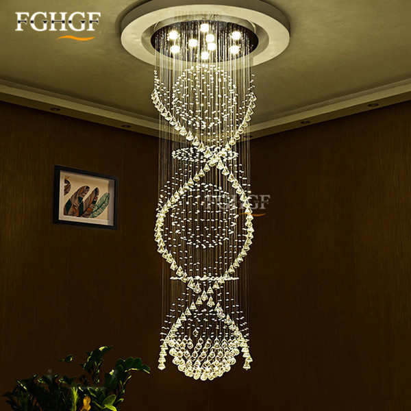 Modern Spiral Staircase K9 Crystal Chandelier Lighting Double Spiral Crystal Ceiling Lamp Living Room Hanging Lamp Decoration