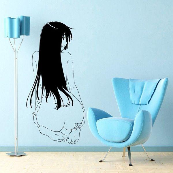 Japanischen Cartoon Vinyl Wandtattoo Anime Manga MANGA SEXY MÄDCHEN MIT TATOO Wandbild Kunst Wandaufkleber Dekoration Schlafzimmer Decor