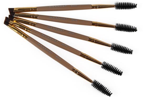 Eyelash Eyebrow Brush 2 in 1 Professional Makeup Brushes Gold Plastic Handle Soft Nylon Costmetic Tools MAG5270