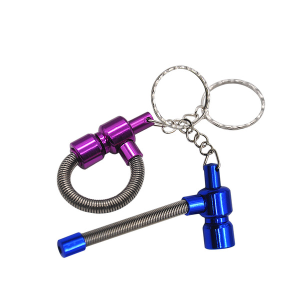 12pcs/Lot Portable Key Chain Spring Smoking Pipe Meltal Tobacco MINI Pipes Cigarette PipeCleaners Color Random