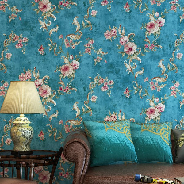 American Wallpaper Floral Vintage Living Room Wallpapers Roll Rustic Flower Wall Paper for Walls Bedroom Wallpaper designs
