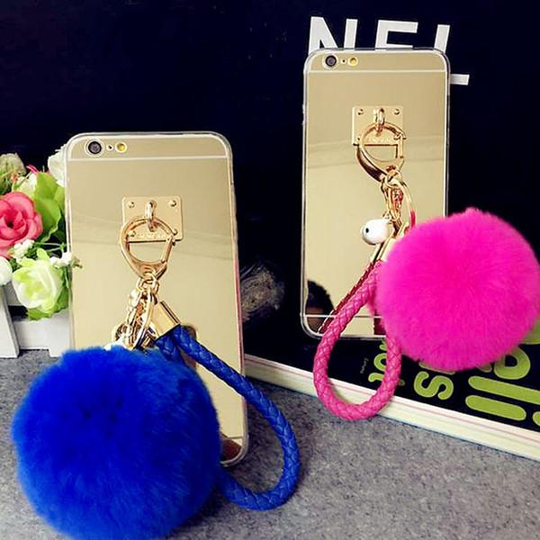 For Samsung galaxy s5 s6 s7 s8 edge plus Pretty Cute Weave fur ball Pompom Key chain mirror case cover