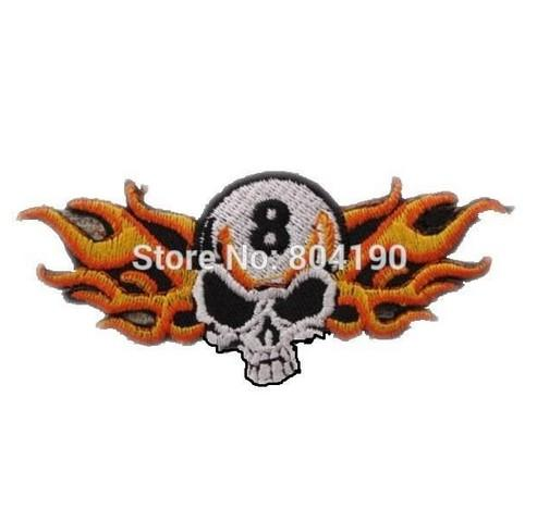 "3.9"" SKULL & FLAMES No. 8 Biker Iron On On Patch Tshirt TRANSFER MOTIF APPLIQUE Rock Punk Badge Jacket Shirt Pants Hats"