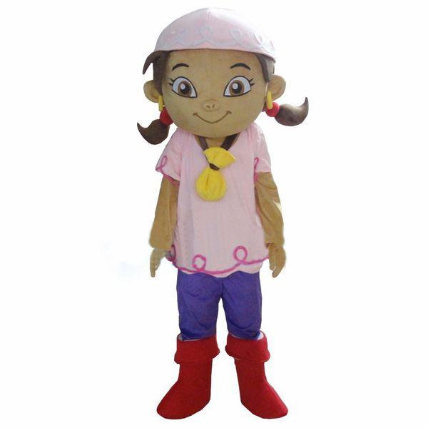 Girl Pink Hair Plush Cartoon Character Mascot Costume Fancy Dress