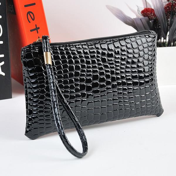 2017 Summer Style Women Fashion black Crocodile Leather PU Coin clutch Zip Around Wallet Card Holders Handbag Short Small Purse