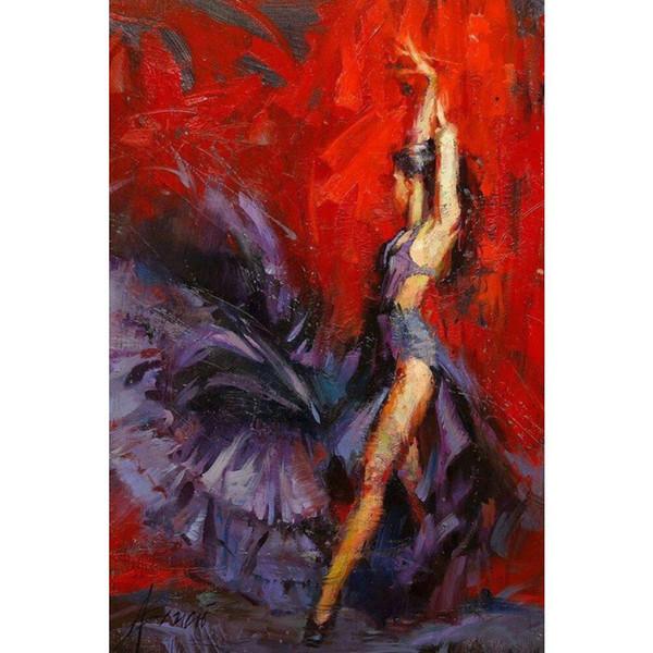 Schöne Ölgemälde Frau Flamenco Tänzerin rot und lila Öl auf Leinwand Hohe Qualität handbemalt
