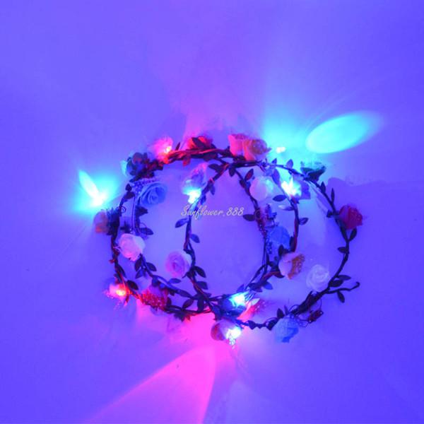 Festa di compleanno Donne ragazze Led Lampeggiante-Up Glow Floreale Fiore rosa Fascia Ghirlanda Bohemia Hawaii Corona Decorazione di nozze