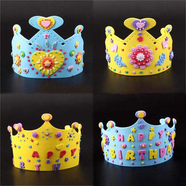 Cool 3D DIY Crown Princess Cap Party Supplies Children Birthday Party EVA Hat Decorations Kids Birthday DIY Hat Gift Toys Mix Order