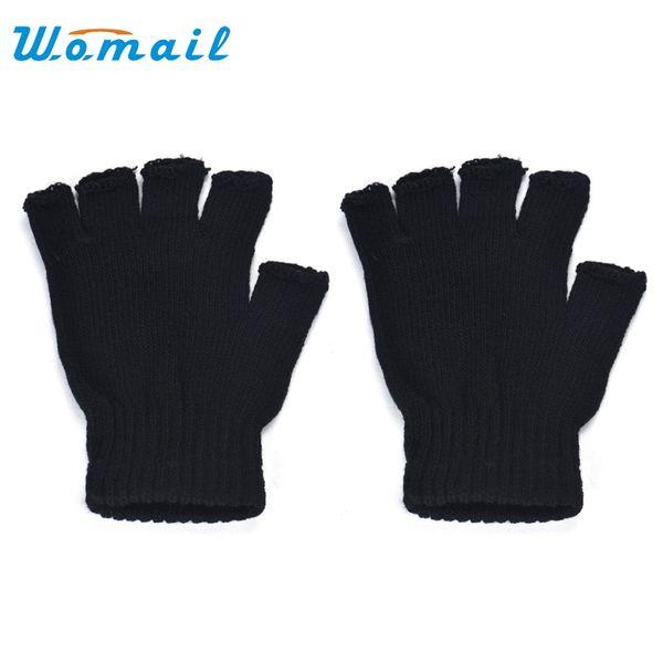 Wholesale- Womail 2017 fashion Men Black Knitted Stretch Elastic Warm Half Finger Fingerless Gloves