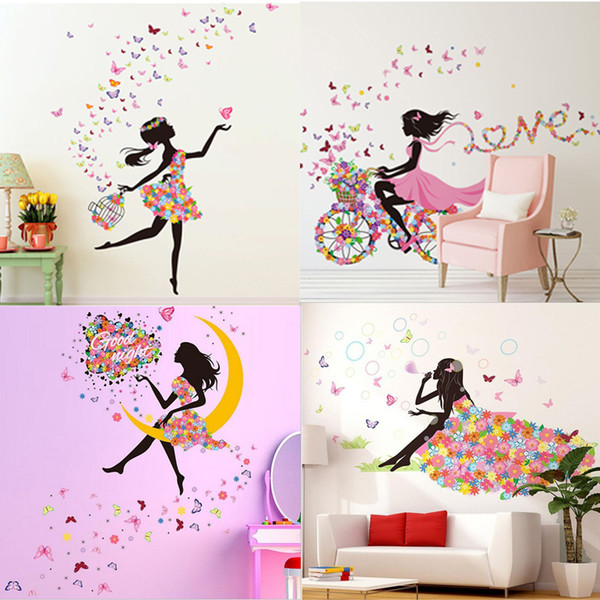 Beautiful Fairy Children Kids Room New Decor Wall Stick Stickers, Fashion Girl Butterfly Flowers Wall Sticker (6 Styles)