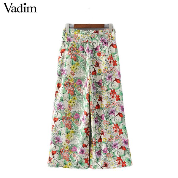 Vadim women vintage floral pleated wide leg pants bow tie waist sashes pockets loose casual trousers pantalones mujer KZ943