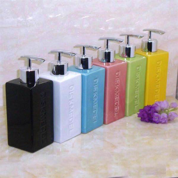 Ceramic hand pressure pump head sanitizer container sub-bottling Bath Square lotion bottle shampoo shower gel bottle soap dispenser 350ml