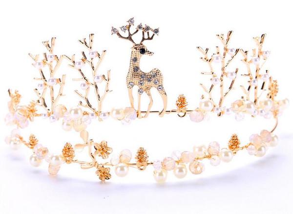 Новый головной убор невесты Сваренный олененок Корона Золотые свадебные аксессуары Корона волос