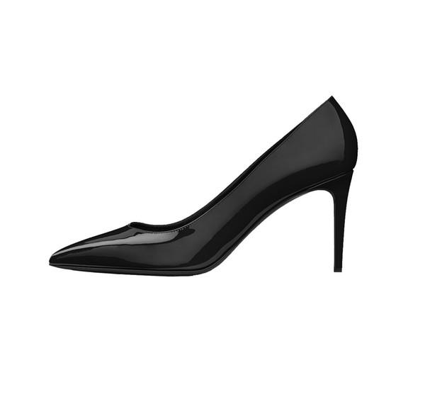 Zandina Womens Fashion Handmade Classic Pairs 80mm High Heel Escarpin Pumps Slip-on Pointed Toe Office Party Shoes Black Z62616