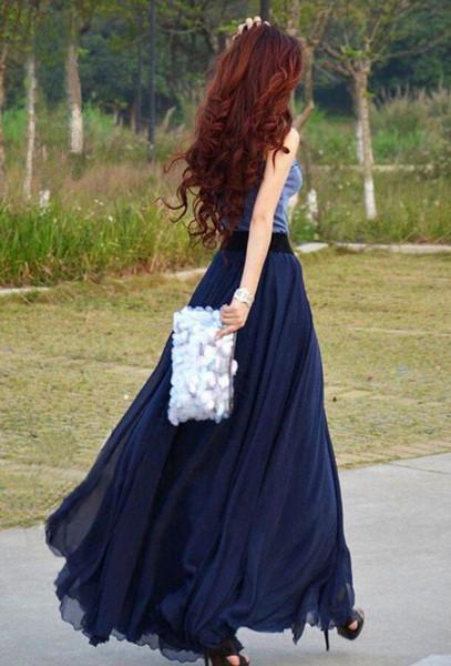 Azul marinho Longo Saias Para As Mulheres Até O Chão Beach Saias Mulheres Vestidos de Festa Chiffon Saias De Cintura Alta