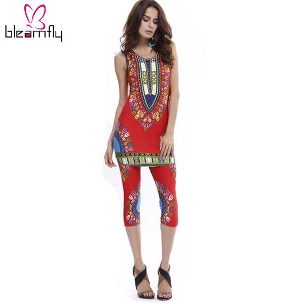 Wholesale- Dashiki dress 2016 Summer Women sexy Bohemian Robe Femme Africa Print Indian Style Two piece set roupas feminina