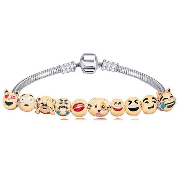 Enamel Expression Faces Charms Bracelet 10 Expression Beads Bracelets for Girls Gifts