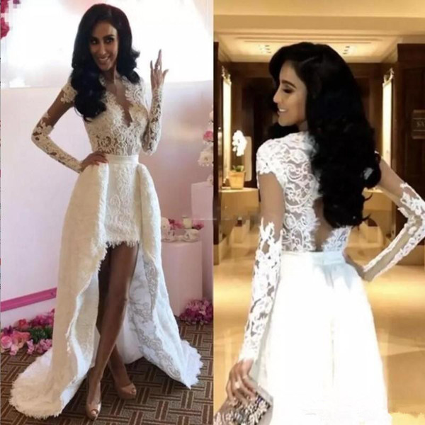 New Short Front Long Back Lace Wedding Dresses Long Sleeve V Neck Hollow Back High Low Bridal Gowns Custom Size