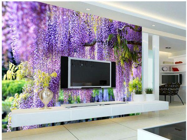 Großhandel Moderne Wohnzimmer Tapeten Eine Schöne 3D Romantische Lila Blume  Rattan TV Wand Angepasste Tapete Für Wände Von Wallpaper20151688, $16.39 ...