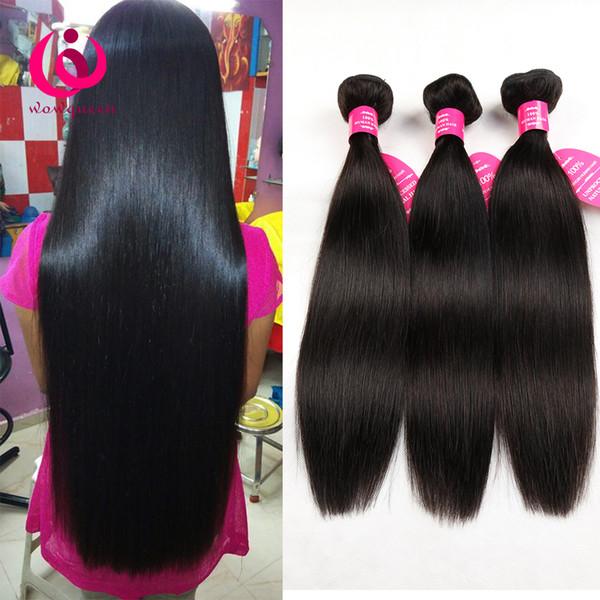 Cabello liso humano peruano 3 paquetes wow queen hair suave y grueso precio barato y buena calidad extensiones de cabello virgen peruana sin procesar