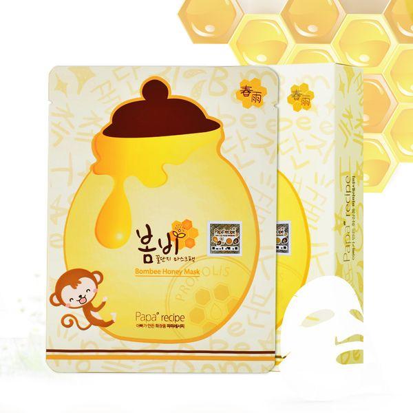 Máscara facial Papa Receta Hidratante Blanqueamiento Máscara de miel Pack Koreas Cuidado de la piel Hoja de máscara facial Conveniente para bebé embarazada 1lot = 1box = 10pcs