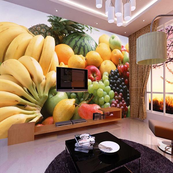 Großhandel-Custom 3D Fototapete Obst Gemüse Dekor Malerei Küche Wohnzimmer Schlafzimmer Wandbild Tapete Papel De Parede 3D
