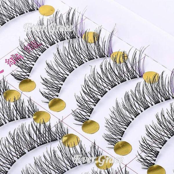 2015 Top Fashion Sale Beauty Maquiagens Unique Handmade 10 Pairs Makeup False Eyelashes With Purple Eye Lashes Cosmetics