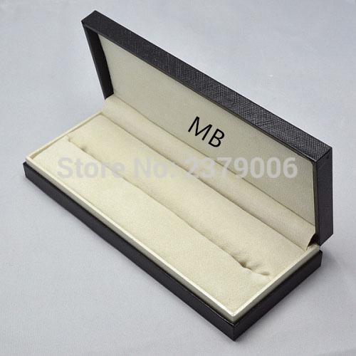 Wholesale- High Quality design MB brand Black wood leather Pen Box Suit For Fountain Pen / Ballpoint Pen / Roller Ball Pens Pencil Case