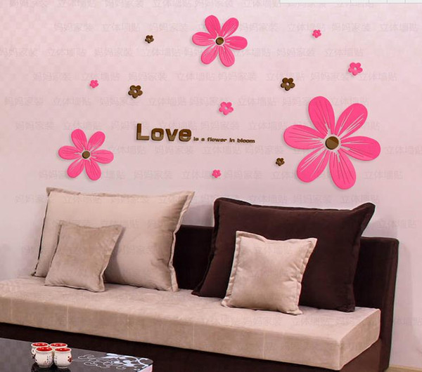3d Crystal Acrylic Stereo Wall Stickers Living Room Bedroom Sofa Tv ...