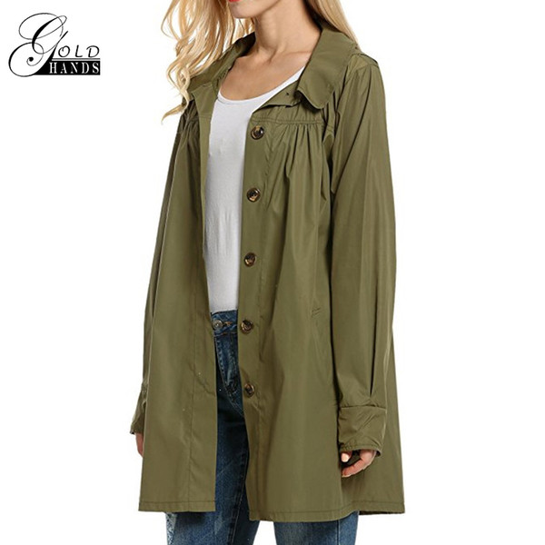Solid Trench Ladies Long Sleeve Light Waterproof Jacket Outdoor Casual Outwear Women Hooded Coat Solid Loose Streetwear Jackets